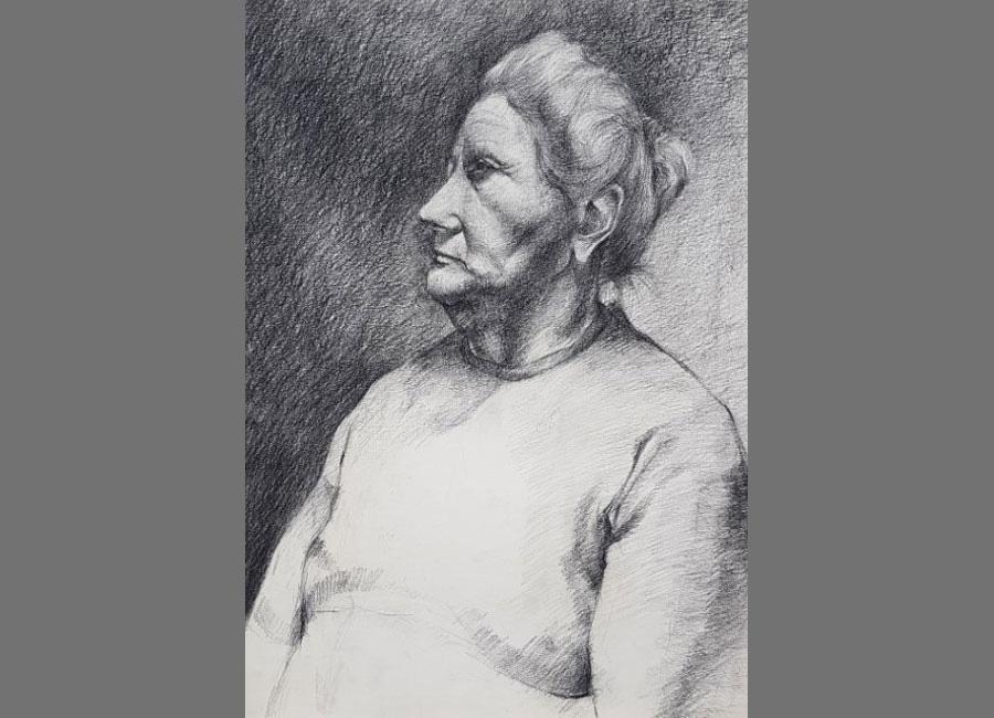 Alte-Frau,-Kreide-57x41