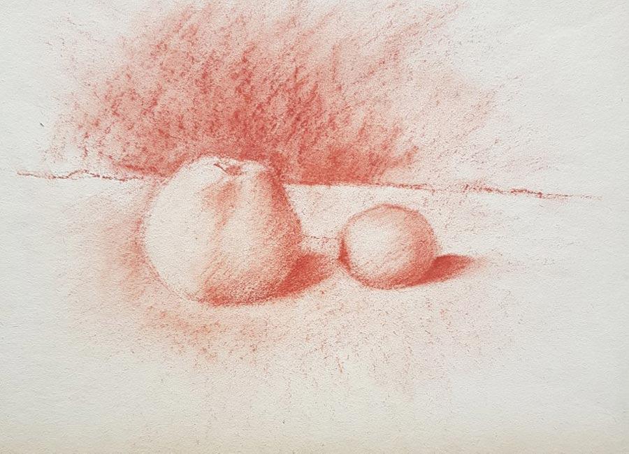 Apfel-und-Zitrone,-rote-Kreide,-30x42cm