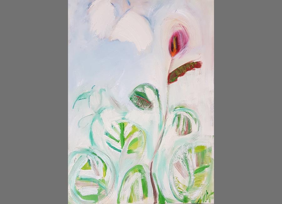 Blume-mit-Schmetterling,-70x50-cm