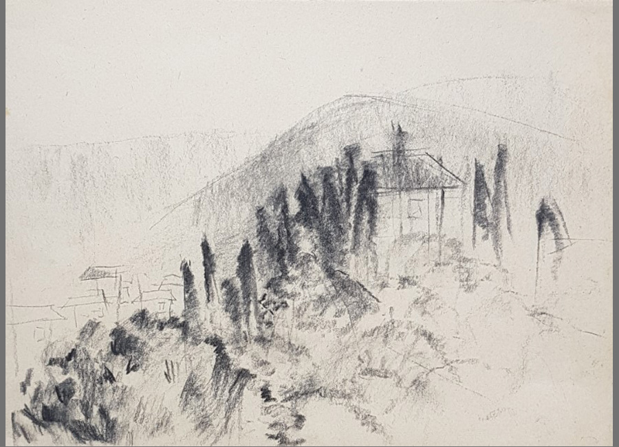 Florentische-Landschaft-1-Kohle,-24,5x33,5cm