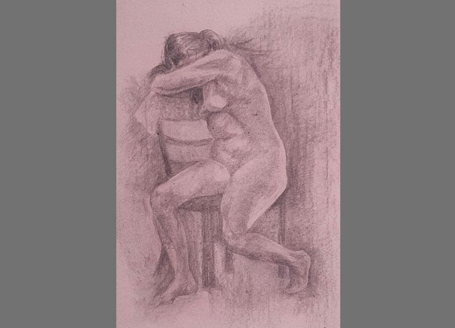 Frau-anlehnend,Kohle-62x42.5cm