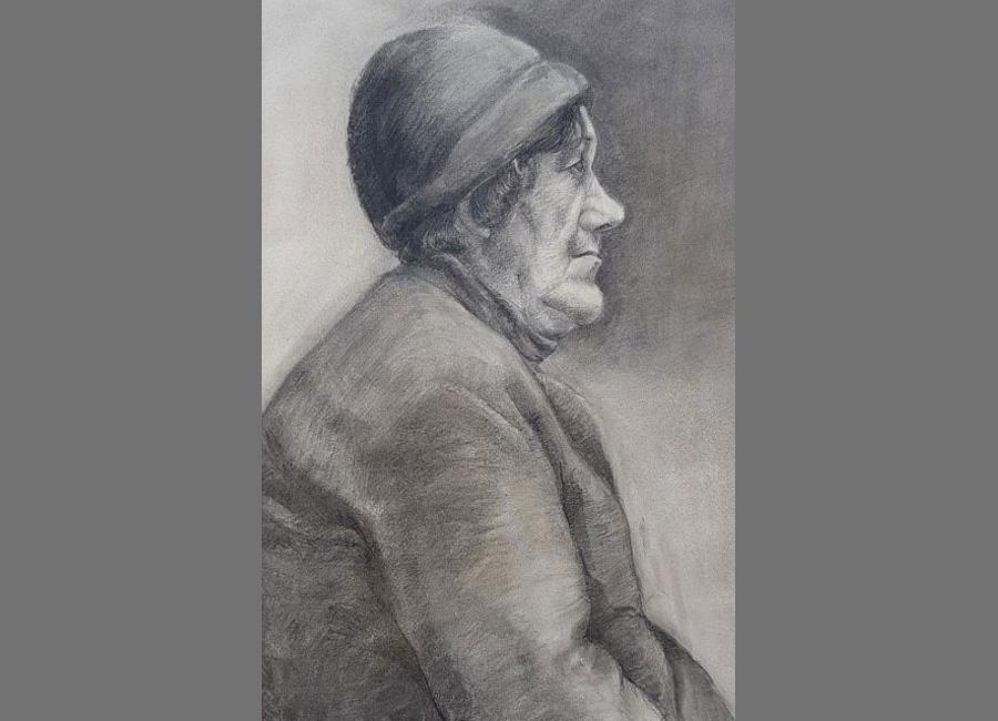 Frau-mit-Kappe-Kohle,-Kreide-53x34.5cm