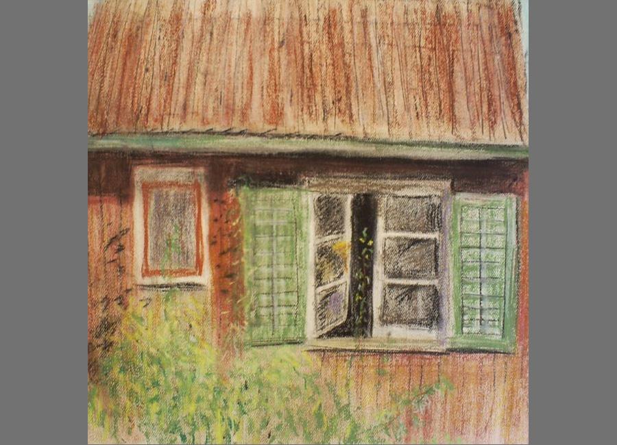 Nachbarsfenster,-Pastell,-43x43cm