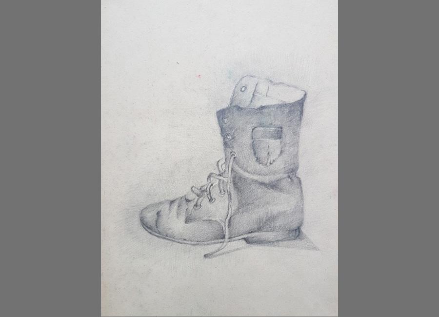 Schuh,-Bleistift,-43x30.5cm