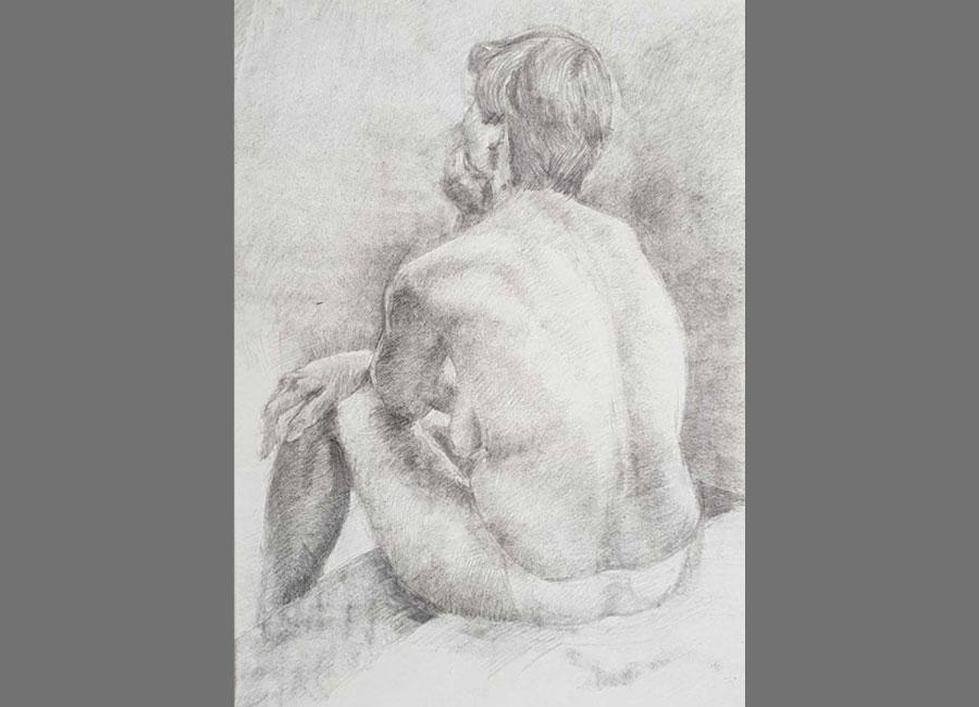 Sitzende-Frau-von-hinten,-Kohle-66x50cm