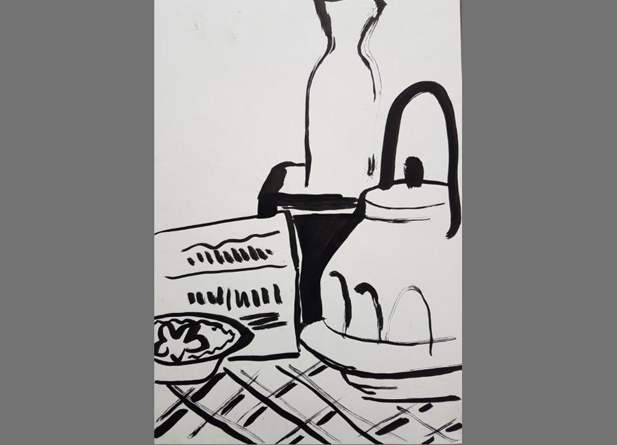 Stilleben-mit-Teekanne,-Tusche,-42x30cm