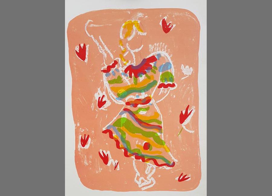 Tanzende-Zigeunerin-Siebdruck,-84x60.5cm