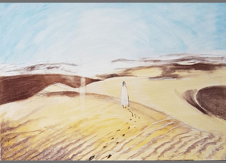 Versuchung-Jesu-I-Pastellkreide-50x70cm