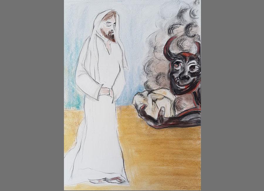 Versuchung-Jesu-II-Pastellkreide-70x50cm
