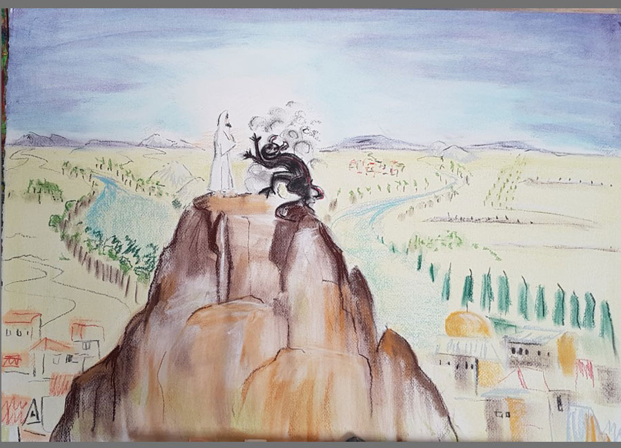 Versuchung-Jesu-III-Pastellkreide-50x70cm
