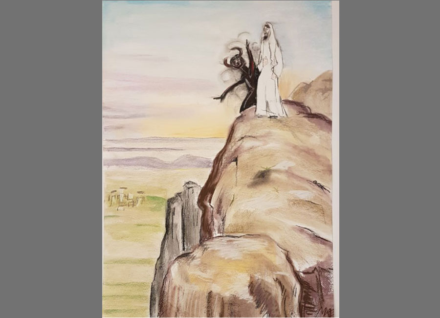 Versuchung-Jesu-IV-Pastellkreide-70x50cm