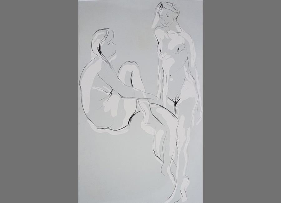 Zwei-Frauen-Siebdruck-78.5x50.5cm