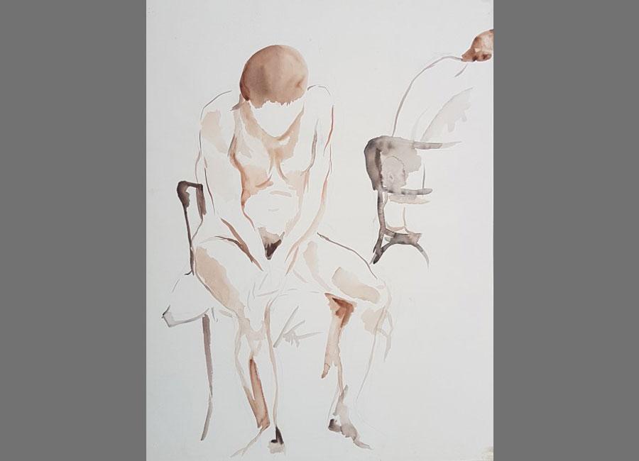 Zwei-sitzende-Frauen,-Aquarell-65x49cm
